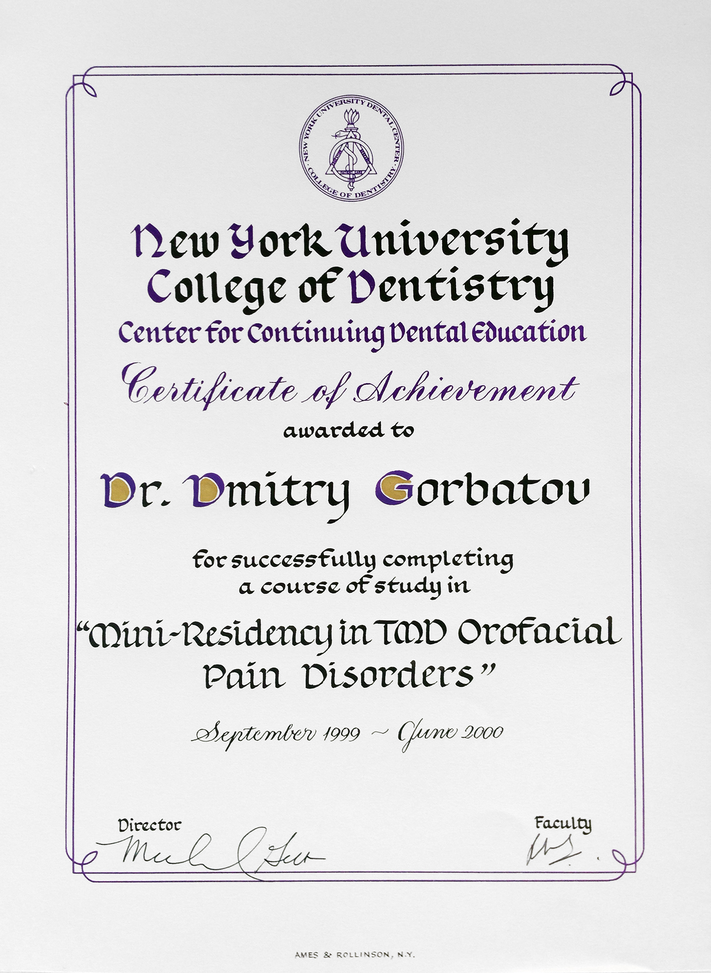 Awards Diplomas Amp Certificates Gorbatov Dentistry